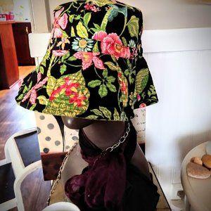 Vera Bradley Botanica BlackFloral Crusher Hat NWOT